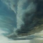 "Cloudscape IV, Oil on steel, 14""x11"""