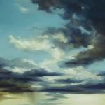 "Cloudscape I, Oil on steel, 14""x11"""
