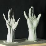 """Hand Écorché, plastilina, 8"""" tall"""